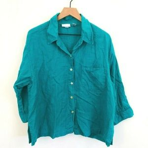 Chico's Teal Linen Button Up Shirt